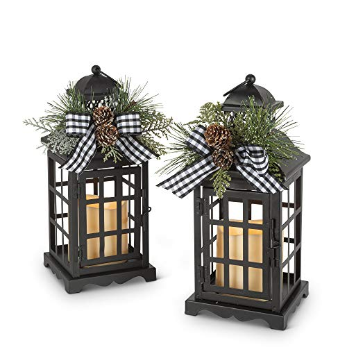 Gerson 2558250 Battery Operated Lighted Metal Holiday Lanterns, 10.5-inch Height