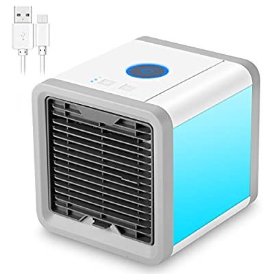 NEXGADGET Portable Air Conditioner, 3 in 1 USB Mini Portable Air Cooler, Humidifier, Purifier,Desktop Cooling Fan with 7 Colors LED Night Light for Office, Home and Outdoor