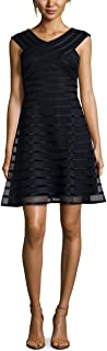 RALPH LAUREN Womens Navy Banded Sleeveless V Neck Above The Knee Fit + Flare Party Dress US Size: 14