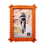 Whats Your Kick Upcycled Bike Chain Single Photo Frame with Orange Color Finish