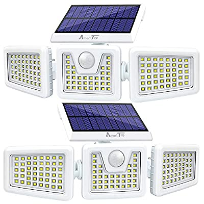 Solar Lights Outdoor -2 Pack, AmeriTop 800LM Wireless 128 LED Solar Motion Sensor Lights Outdoor; 3 Adjustable Heads, 270° Wide Angle Illumination, IP65 Waterproof, Security LED Flood Light - White