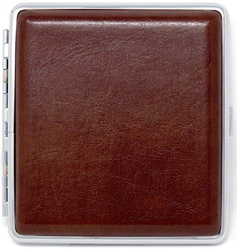 Brown Smooth Leather (Full Pack – 20 Kings) Metallic Cigarette Case & Stash Box