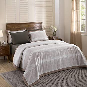 Maspar Nomadic Greys Abstract Double Comforter - Brown