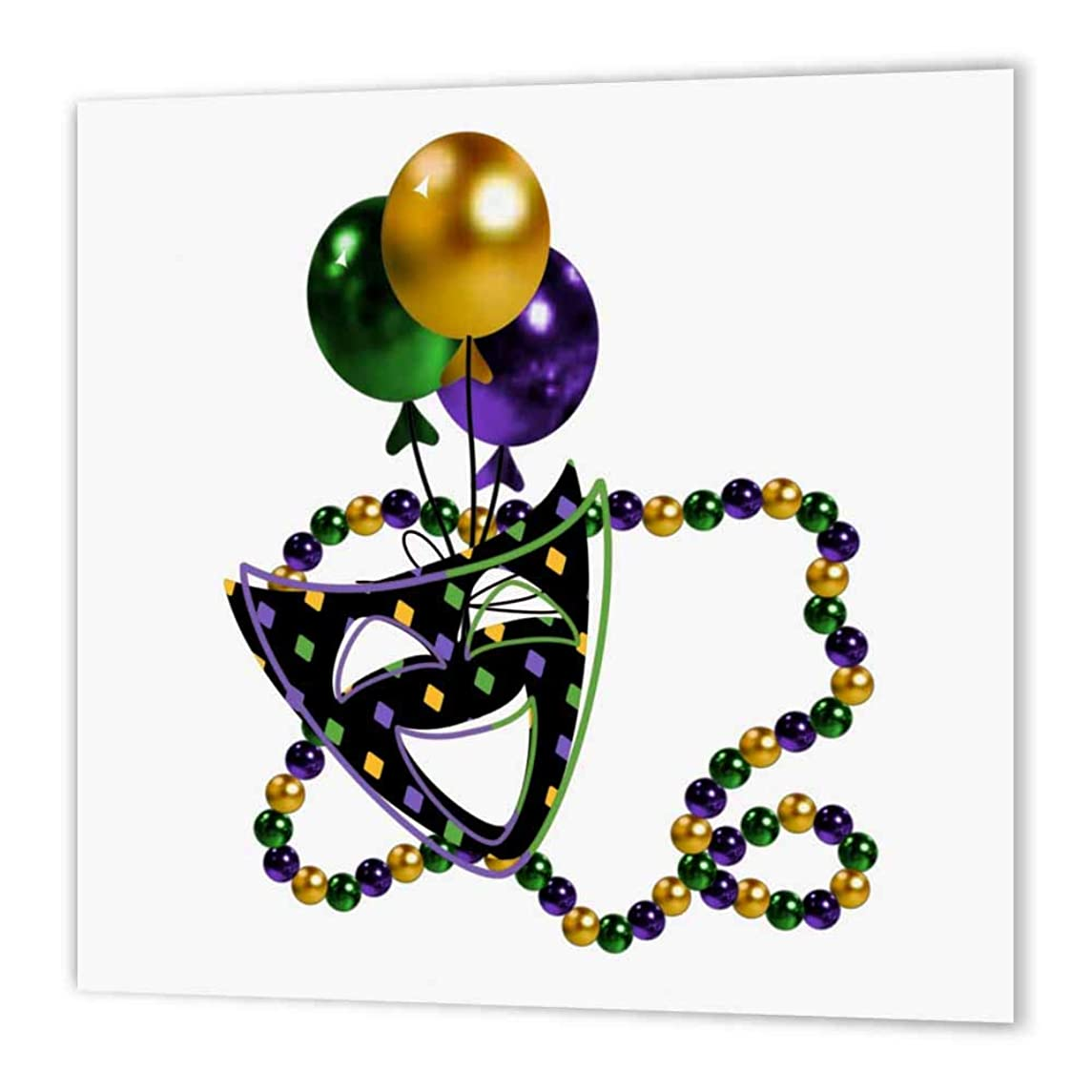 3dRose ht_45157_1 Mardi Gras Mask and Beads-Iron on Heat Transfer Paper for White Material, 8 by 8-Inch