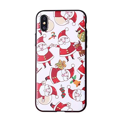 APHT Christmas Phone Case Cover Natale Silicone TPU Trasparente con Natale Disegni Ultra Sottile Morbido Silicone Renna per iPhone 6/6S/7/8/X/11