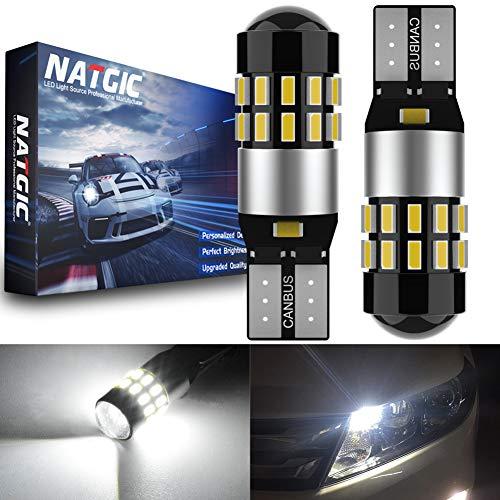 NATGIC T10 W5W Ampoules LED CanBus sans Erreur 30SMD 3014 pour éclairage Intérieur de Voiture Feux de Lecture Feux de Plaque d'immatriculation Feux de Position, DC 12-24V 6000K Xénon Blanc (Lot de 2)