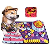 YUDICP Pet Snuffle Mat for Dogs, Interactive Feed Game for Boredom, Encourages Natural Foraging Skills for Cats Dogs Bowl Travel Use, Dog Treat Dispenser Indoor Outdoor Stress Relief, 70X50cm,Purple