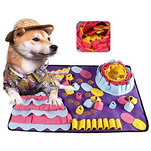 YUDICP Tappetino per animali domestici, per cani, gioco interattivo per la noia, incoraggia le capacità di foraggio naturali per gatti, cani, ciotola, da viaggio, 70 x 50 cm, colore: viola