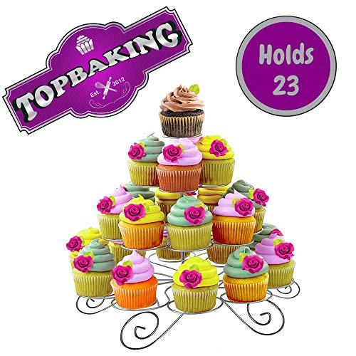 TopKitchenGadgets 4-stöckiger Cupcake-Ständer aus Metall, für 23 Kuchen und Muffins, perfekt für Hochzeiten, Babypartys und Geburtstagspartys