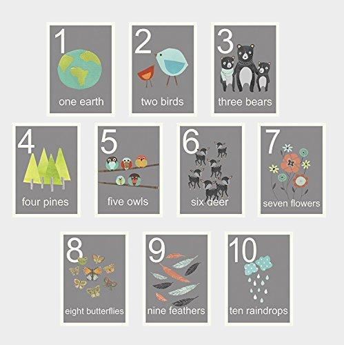 Children Inspire Design notre monde de comptage de cartes du mur, nombre de cartes flash, ensemble de dix 5 x 7 sticker imprime, pépinière mur art décoration, décoration d'art pour enfants
