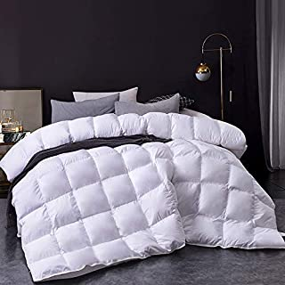 Homtyler Luxurious Goose Down Comforter All-Season Duvet Insert,1600TC Ultra-Soft Egyptian Cotton Down Proof Fabric,55 Oz 750+Fill Power,Solid White King Size(106x90inches)