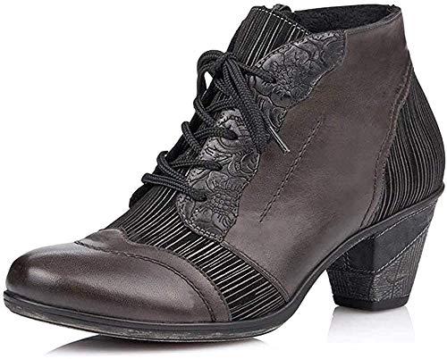 Remonte Damen Stiefeletten, Frauen Ankle Boots, reißverschluss leger Stiefel halbstiefel Bootie,Grau(Vapor),39 EU / 6 UK