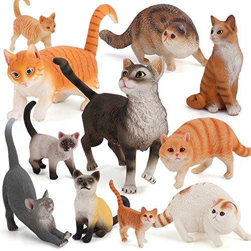 11 PCS Cat Model Animal Action Figure Lifelike Pet Figurine Party Supplies Cake Toppers Desktop Decoration Collection Gift Cognitive Toys for 5 6 7 8 Year Old Boys Girls Kid Toddlers
