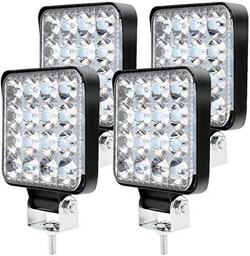 4PCS Faro Trabajo LED 9-32V 48W 6500K Impermeable IP 67 Focos LED Tractor de Alta Resistencia para Camión, Moto, Barco, SUV