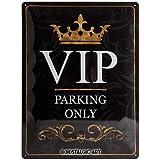 Nostalgic-Art VIP Parking Only Placa Decorativa, Metal, Negro y Dorado, 30x40x0.2 cm
