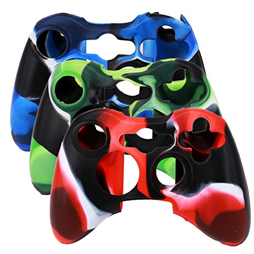 SunAngel Xbox 360 Silicone Wireless Controller Skin Protective Rubber Case Cover for Microsoft Xbox 360 Game Pad (3 Colors Package)