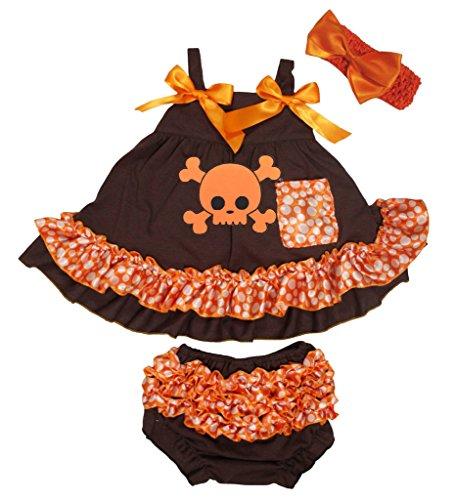 Petitebelle Squelette Marron Dot Orange Couvercle basculant bloomer Ensemble de pantalon pour bébé Nb-24 m - Marron - M
