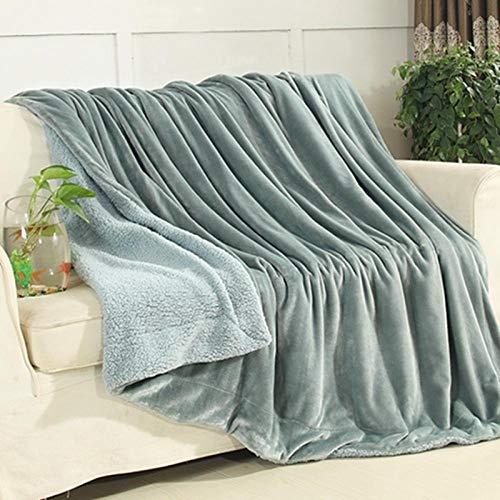 XUMINGLSJ Mantas para Sofa, Mantas para Cama de Franela Reversible, Mantas Ligeras de 100% Microfibra - Fácil De Limpiar - Extra Suave Cálido -Azul Humo_200 * 230 CM