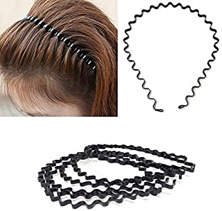 Honbay 6PCS Simple Fashionable Black Metal Wave Hair Hoop for Men, Women, Boys and Girls (C)