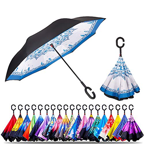 Original Deals Inverted Umbrella double layer reverse UV protection | unique windproof umbrella | Conversely open folding umbrella with C-hook for hanging on points mandala flower