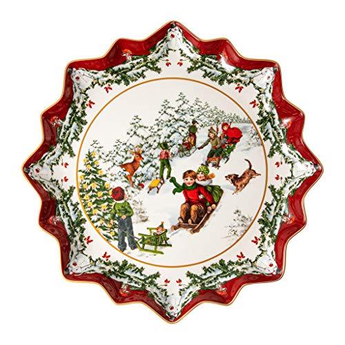 Villeroy & Boch Toys Fantasy Gebäckteller tief, Schlittenfahrt, Premium Porcelain, weiß, 39 x 39 x 3,5 cm