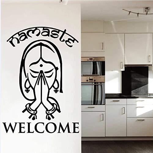 Adhesivo de pared para el hogar, adhesivo de vinilo para yoga, cartel de puerta y ventana de casa, papel tapiz artístico, India