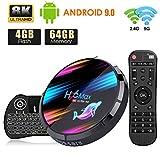 Android TV Box, H96 MAX Android 9.0 TV Box 【4GB+64GB】 con Mini Teclado Amlogic S905X3 64-bit Quad Core con Dual-WiFi 2.4GHz/5GHz, 8K*4K UHD H.265, USB 3.0, BT 4.0 Smart TV Box