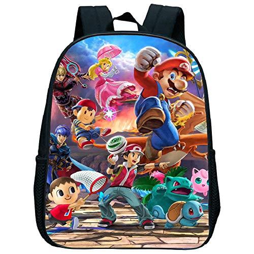 Cartoon Super Mario Smash Bros Kinder Schultaschen für Jungen Mädchen, Big Capacity Rucksack Schulranzen Kinder Kindergarten Büchertasche
