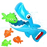 Bammax Bath Toys, Shark Grabber Baby Bath Toy Set Bathtub Toy, Great White Shark with Teeth Biting Action Include 4 Floating Fish Pool Bathroom Bath Toy Game for Toddler Infant Kid Water Toys