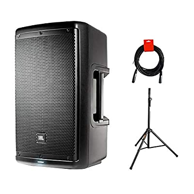 """JBL EON610 Two-Way 10"""" 1000W Powered Portable PA Speaker- Bluetooth Control with Speaker Stand & XLR Cable Bundle by JBL"""