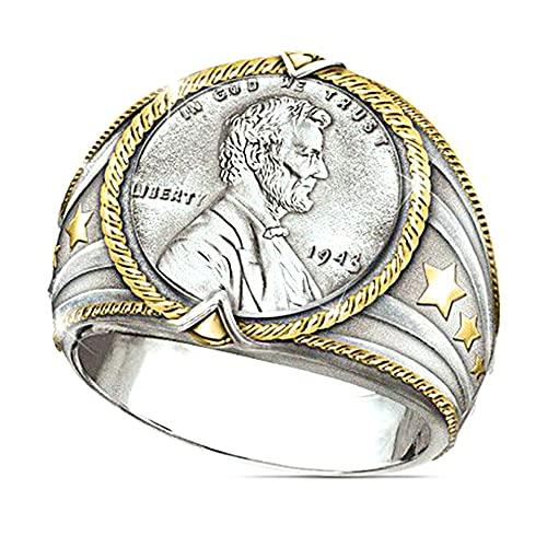 Anillo con patrón de retrato vikingo Rock Punk Hip Pop Anillo de diseño gótico, anillo de motociclista, anillo de joyería personalizado, plata y oro de dos tonos para hombres, niños y esposo (8)