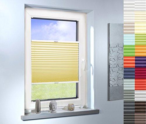 Sun World Plissee nach Maß, hochqualitative Wertarbeit, für Fenster und Türen, alle Größen, Maßanfertigung, Jalousie, Faltrollo (Farbe: Gelb, Farbmuster 20x20cm)