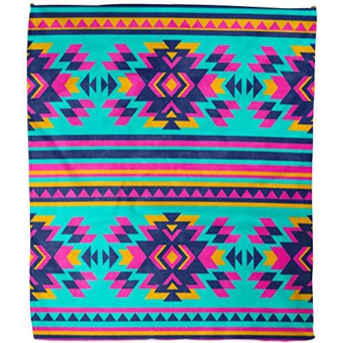 Kuscheldecke Pink Neon Farbe Tribal Navajo Aztec Abstrakte Geometrische Ethnische Hipster Hotel Decke Decke Warme Fuzzy Soft Bed Sofa Fleece Decke Büro Wohnzimmer 102X127 cm