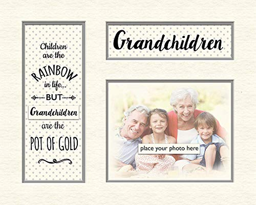 Online Street Grandchildren Memory Mounts - Supporto per Foto a Pois Grigi, in Confezione Regalo, 25,4 x 20,3 cm