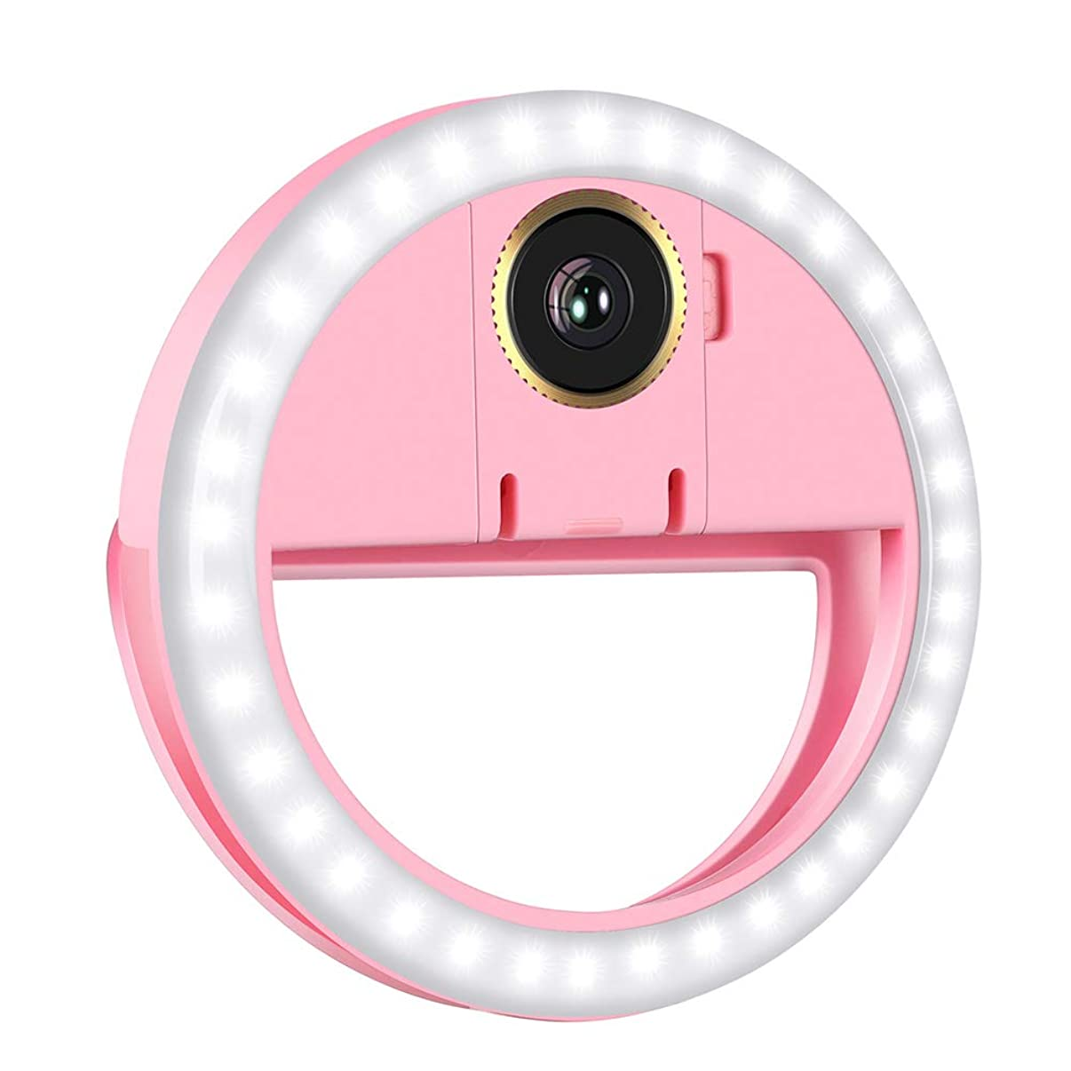 Selfie Light Ring, OU-BAND LED Rechargeable Clip On Phone Ring Lights with Macro Camera Lens for Smart Phone Laptop Camera Photography Video Lighting - Pink