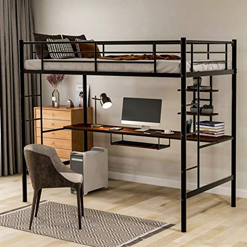 Metal Loft Bed Twin Size with Desk and 2 Bookshelf for Kids/Teens,Twin Size Loft Bed with Full-Length Guardrail and Two-Side Ladder for Bedroom/Dorm,No Box Spring Required,Ship from USA Warehouse