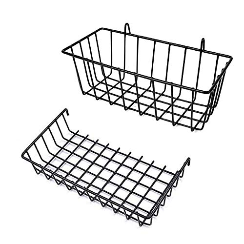NEWCOMDIGI 2 PCS Wire Wall Grid Panel Basket Display Shelf Storage With Hook, Straight Shelf for Design Metal Wall Grille Wall Organizer for Home Supplies (2 Black Baskets)