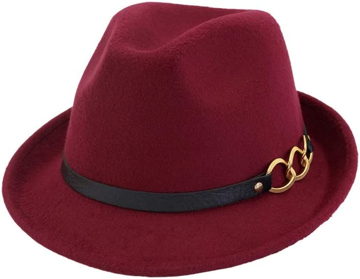 L.W.SUSL New Men Women Fedora Hat with Leather Belt Panama Jazz Hat Pop Hat Outdoor Casual Hat (Color : Wine red, Size : 56-58)
