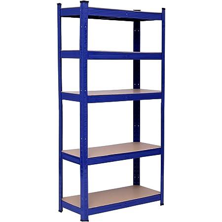 Maxplus Étagère de rangement à 5 étages en métal réglable en hauteur 150 × 75 × 30 cm 650 kg Bleu