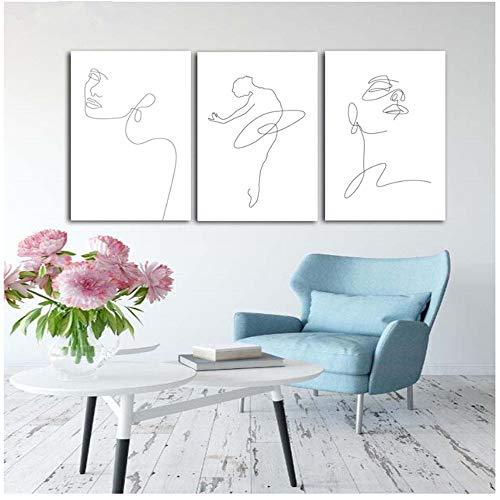 Arte de la pared Cartel Mujeres Cara Dibujo de líneasCarteles e impresiones Decoración para el hogar Cuadros de pared para sala de estar Pintura de la lona Arte 50x70cm(19.6x27.5in) Sin marco