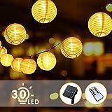 BACKTURE Solar Lichterkette Lampion, Aussen 6.3M 30 LED Laternen Fernbedienung 8 Modi IP65 Wasserdicht Auße Beleuchtung Dekoration für Garten, Balkon, Deko, Hochzeit Warmweiß [Energieklasse A++++]