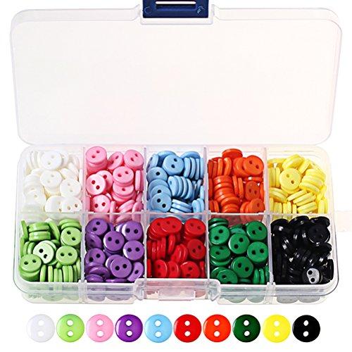 Bottoni di colori misti in resina, Wowot, per artigianato, con contenitore in plastica - per fai da te, cucito, ecc - 750 pezzi