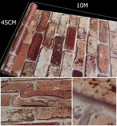 壁紙シールウォールステッカーレンガ柄はがせるタイプ45cm×10mリフォームウォールステッカー防水(USレンガ)