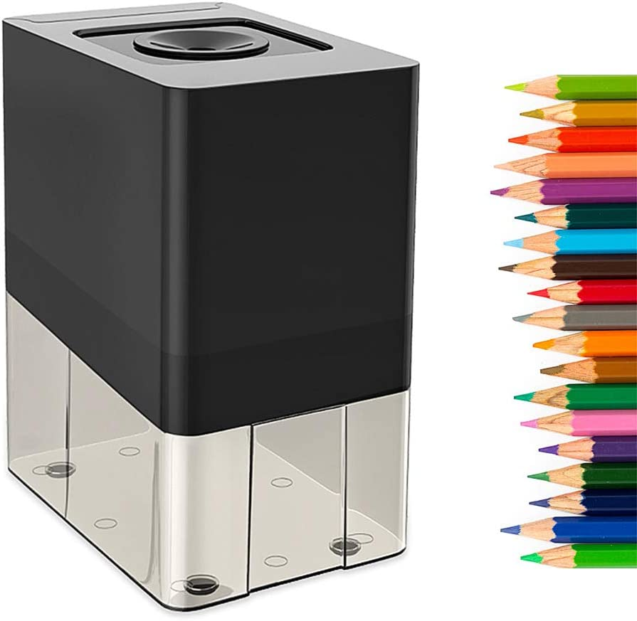 Electric Pencil Sharpener,Automatic Sharpener,Heavy Duty Blade for Fast Sharpen,Auto Stop,for No.2/Colored Pencil,with AC Power Adapter & Cleaning Brush,Suitable for Home School Office Art Studio