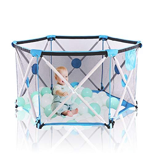 Arkmiido Laufstall Kinder, Laufgitter Faltbar und Tragbar, Laufstall Sechseckig mit Netz, Innen- und Außenspiel für Kinder von 0 bis 4 Jahren (Blau,ohne Ball)