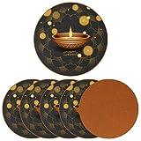 Posavasos para bebidas Happy Diwali Festival Mandala Pan Print de cuero redondo taza taza almohadilla almohadilla para proteger muebles, resistente al calor, decoración de bar de cocina, juego de 6