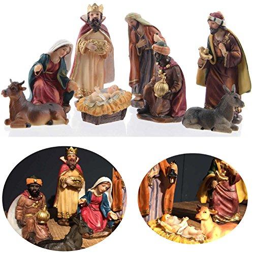 LS-LebenStil Krippenfiguren Set 8 Figuren bunt Krippe Krippenset 11cm handbemalt