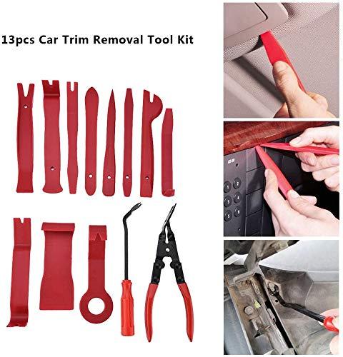 Car Trim Removal, 13-delige set auto demontage gereedschap speciaal gereedschap voor het verwijderen van autoradio en auto-interieur, sierlijstenwiggen, bekledingsgereedschap QC02321