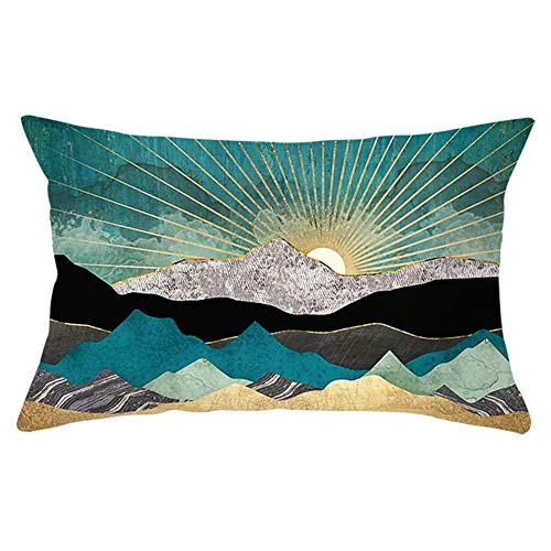 Fundas de Cojines Throw Pillow Case Paisaje amanecer Cojines Decoracion Terciopelo Suave Fundas de Almohada Rectángulo para Sofá Cama Sillas Coche Dormitorio Decorativo Hogar Y5883 Pillowcase,30x50cm