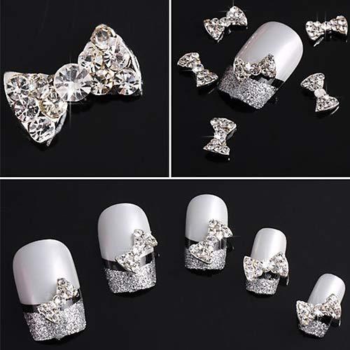 Dragonaur Lot de 10 perles 3D en alliage transparent avec nœud papillon et strass pour nail art - Couleur aléatoire